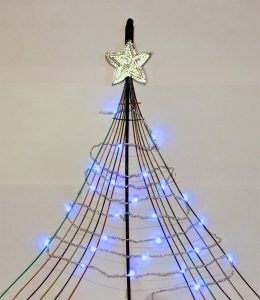 A christmas tree made out of fibre optic cable