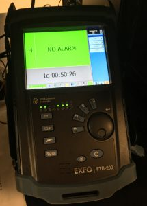 Exfo FTB-200 showing No Alarm, 1d 00:50:26